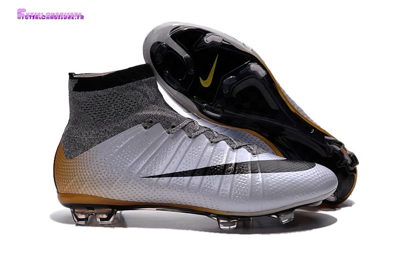 Rabais- Nike Mercurial Superfly CR7 FG Argent Noir Or