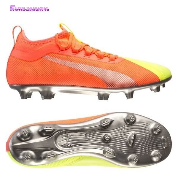 Rabais- Puma One 20.2 FG/AG Rise Orange Jaune Argent