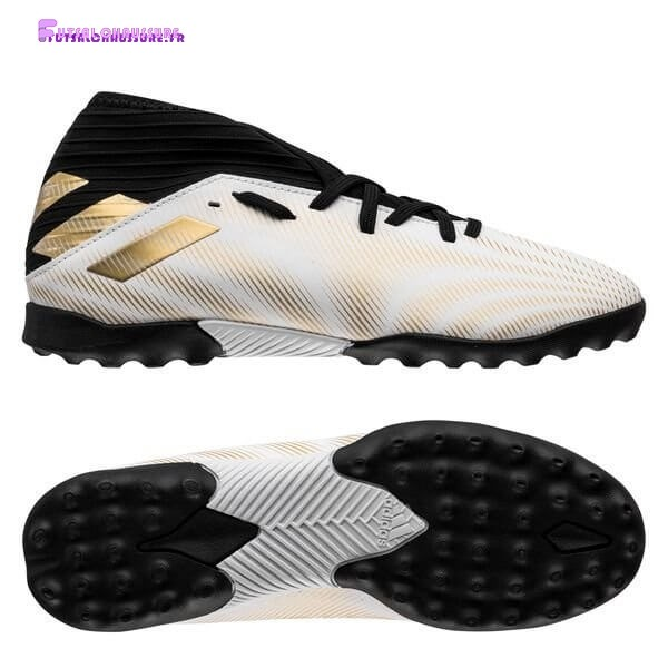 Rabais- Adidas Nemeziz.3 Enfant TF Atmospheric Blanc Or Noir