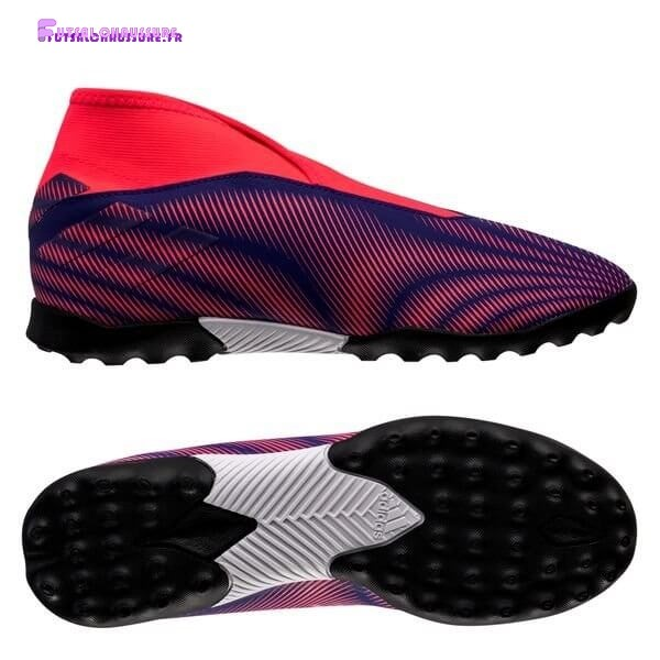 Rabais- Adidas Nemeziz.3 Laceless Enfant TF Precision To Blur Rose Pourpre