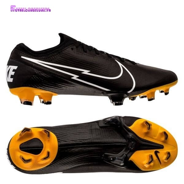 Rabais- Nike Mercurial Vapor 13 Elite FG Leather Tech Craft Noir Blanc Or